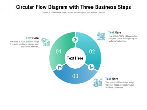 Circular Flow Diagram With Three Business Steps Ppt PowerPoint Presentation Portfolio Ideas