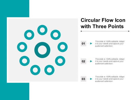 Circular Flow Icon With Three Points Ppt PowerPoint Presentation Gallery Grid