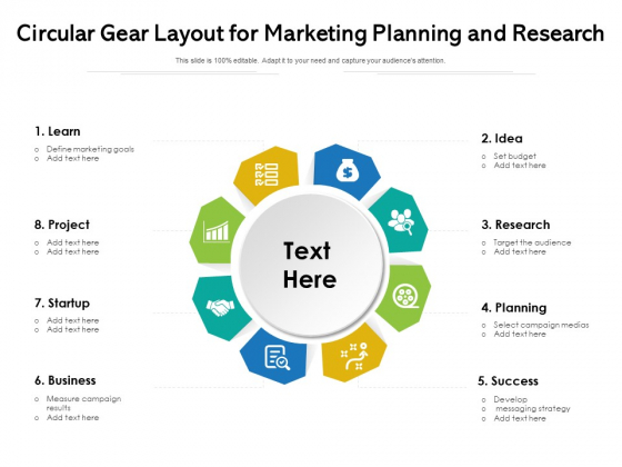 Circular Gear Layout For Marketing Planning And Research Ppt PowerPoint Presentation Gallery Clipart Images PDF