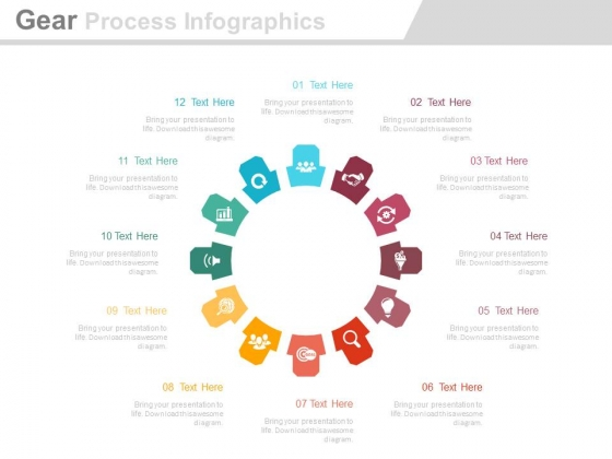 Circular Gear Process Infographics Diagram Powerpoint Template