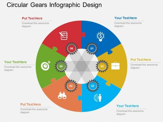 Circular Gears Infographic Design Powerpoint Templates