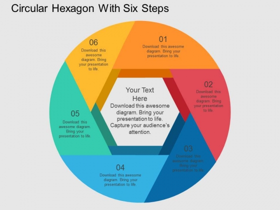 Circular Hexagon With Six Steps Powerpoint Templates