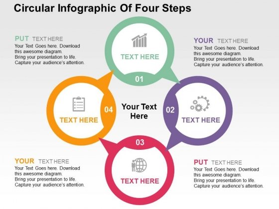 Circular Infographic Of Four Steps Powerpoint Templates