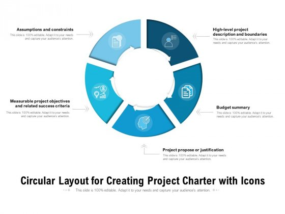 Circular Layout For Creating Project Charter With Icons Ppt PowerPoint Presentation Outline Templates PDF