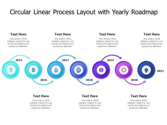 Circular Linear Process Layout With Yearly Roadmap Ppt PowerPoint Presentation File Themes PDF