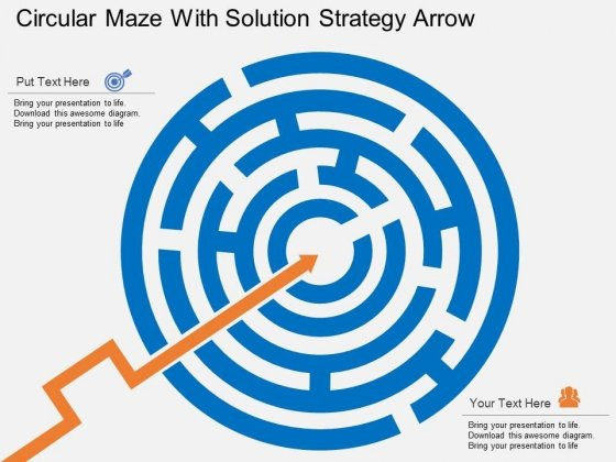 Circular Maze With Solution Strategy Arrow Powerpoint Template