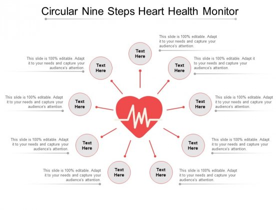 Circular Nine Steps Heart Health Monitor Ppt PowerPoint Presentation Summary Shapes