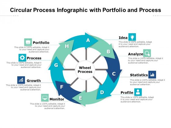 Circular Process Infographic With Portfolio And Process Ppt PowerPoint Presentation Slides Graphics Example PDF
