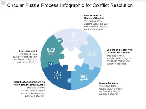 Circular Puzzle Process Infographic For Conflict Resolution Ppt PowerPoint Presentation Ideas Slides