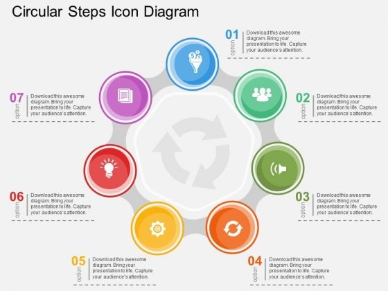 Circular Steps Icon Diagram Powerpoint Template