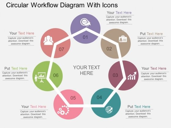 Circular Workflow Diagram With Icons Powerpoint Template