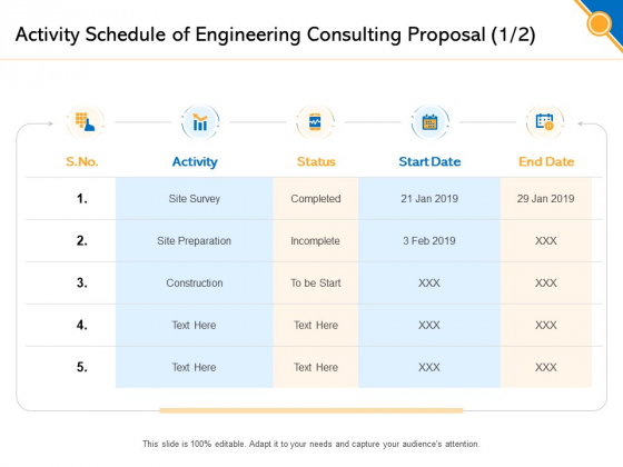 Civil Construction Activity Schedule Of Engineering Consulting Proposal Date Professional PDF