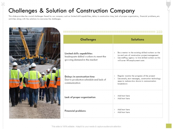 Civil Contractors Challenges And Solution Of Construction Company Ppt Infographics Infographics PDF