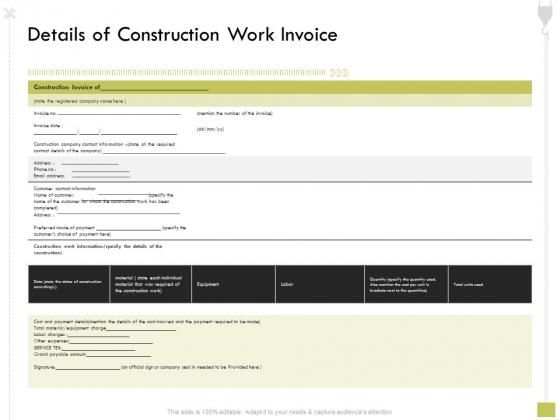 Civil Contractors Details Of Construction Work Invoice Ppt Show Templates PDF