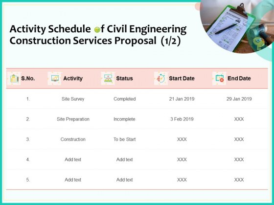 Civil Engineering Consulting Services Activity Schedule Of Civil Engineering Construction Services Proposal Date Template PDF
