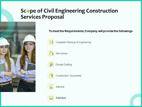 Civil Engineering Consulting Services Scope Of Civil Engineering Construction Services Proposal Designs PDF