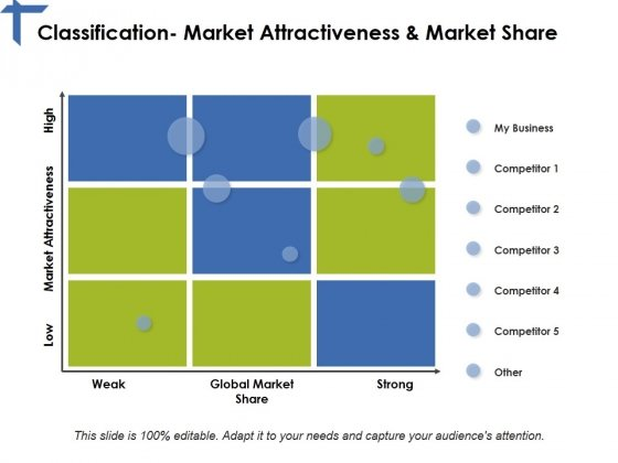 Classification Market Attractiveness And Market Share Ppt PowerPoint Presentation File Ideas