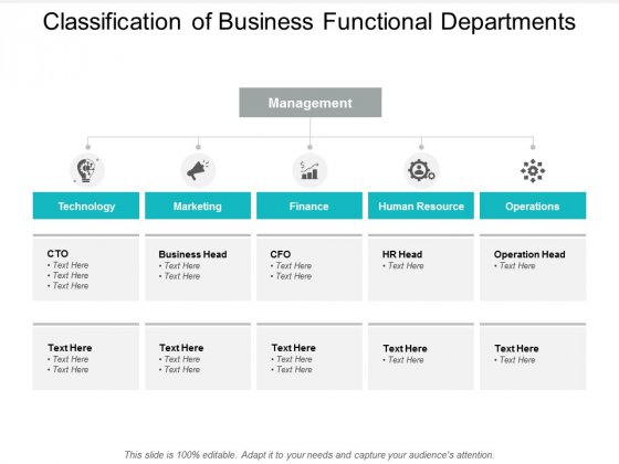 Classification Of Business Functional Departments Ppt PowerPoint Presentation Pictures Templates