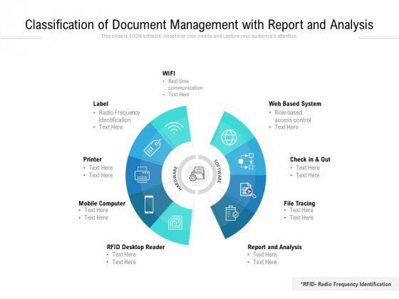 Classification Of Document Management With Report And Analysis Ppt PowerPoint Presentation Gallery Background Image PDF