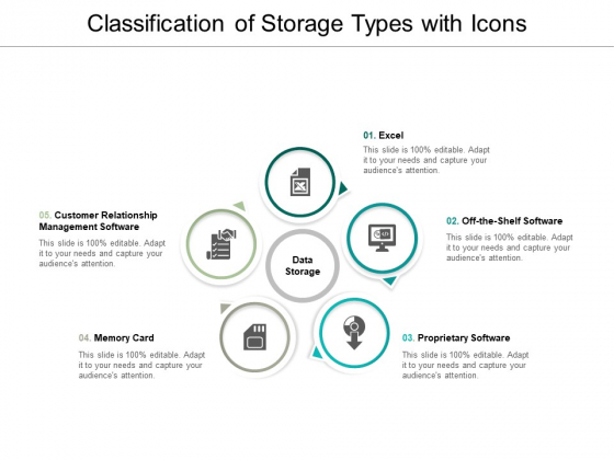 Classification Of Storage Types With Icons Ppt Powerpoint Presentation Pictures Structure