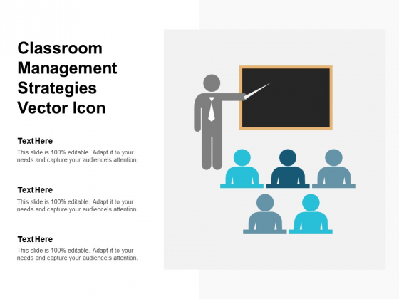 Classroom Management Strategies Vector Icon Ppt PowerPoint Presentation Infographics Sample