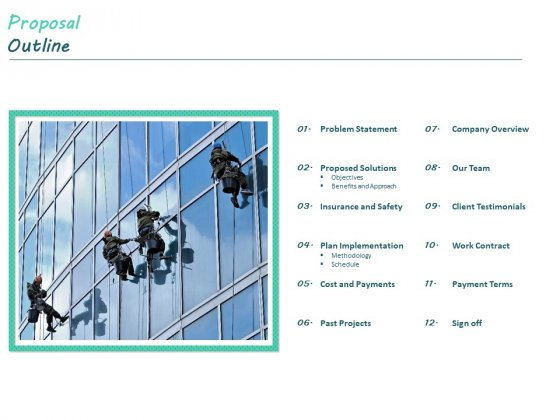 Clean Bid Window Cleaning Proposal Outline Ppt Background Images PDF