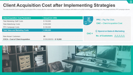 Client Acquisition Cost After Implementing Strategies Ppt Icon Rules PDF