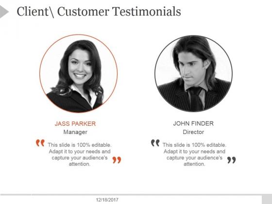 Client Customer Testimonials Ppt PowerPoint Presentation Outline