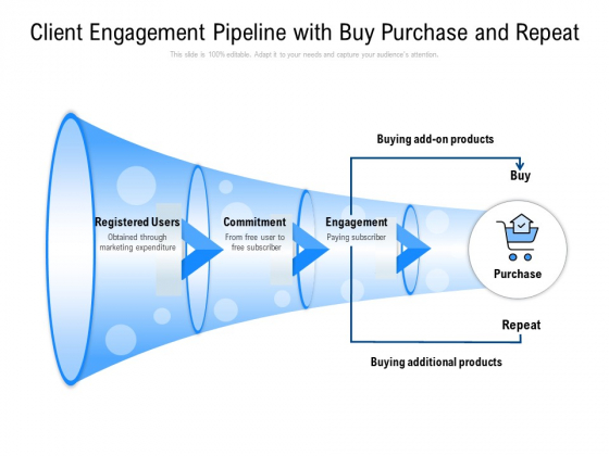Client Engagement Pipeline With Buy Purchase And Repeat Ppt PowerPoint Presentation Infographics Graphics Design