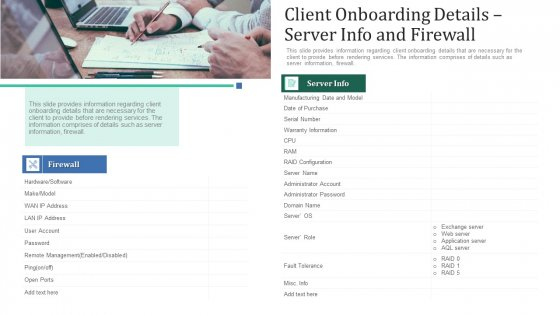 Client Onboarding Details Server Info And Firewall Ppt Summary Vector PDF