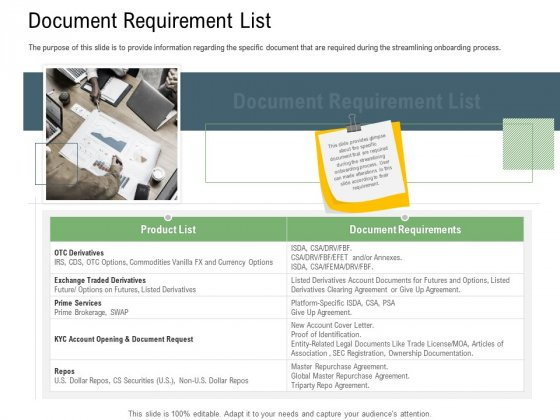 Client Onboarding Framework Document Requirement List Background PDF