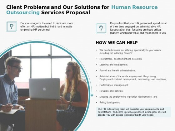 Client Problems And Our Solutions For Human Resource Outsourcing Services Proposal Download PDF