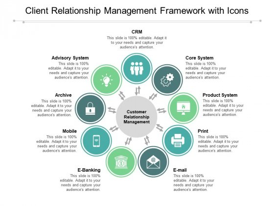 Client Relationship Management Framework With Icons Ppt Powerpoint Presentation Outline Styles
