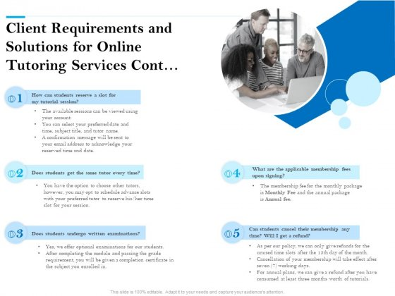 Client Requirements And Solutions For Online Tutoring Services Cont Ppt PowerPoint Presentation Outline Styles PDF