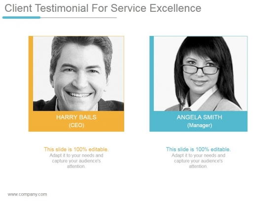 Client Testimonial For Service Excellence Ppt PowerPoint Presentation Inspiration