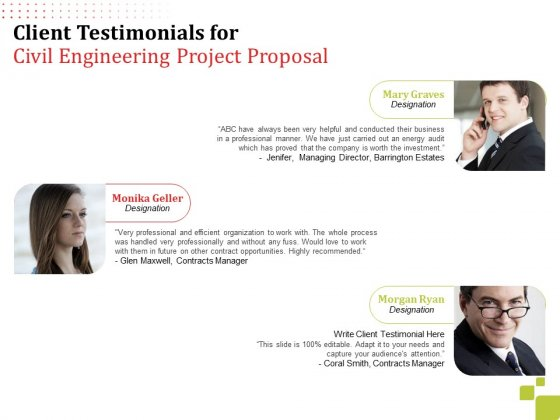 Client Testimonials For Civil Engineering Project Proposal Ppt Pictures Backgrounds PDF