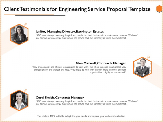 Client Testimonials For Engineering Service Proposal Template Rules PDF