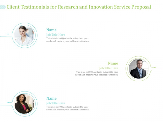 Client Testimonials For Research And Innovation Service Proposal Ppt PowerPoint Presentation Slides Skills PDF