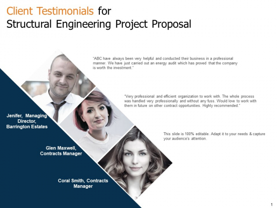 Client Testimonials For Structural Engineering Project Proposal Ppt Styles Diagrams PDF