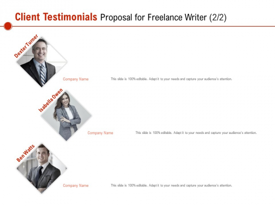 Client Testimonials Proposal For Freelance Writer Communication Ppt PowerPoint Presentation Model Graphics Tutorials PDF