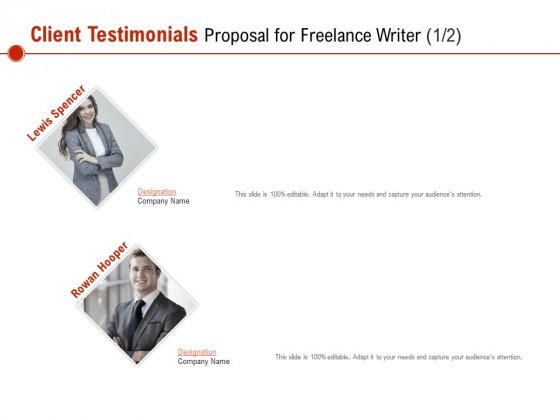 Client Testimonials Proposal For Freelance Writer Ppt PowerPoint Presentation File Outfit PDF