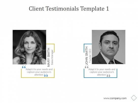 Client Testimonials Template 1 Ppt PowerPoint Presentation Infographics