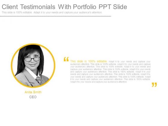 Client_Testimonials_With_Portfolio_Ppt_Slide_1
