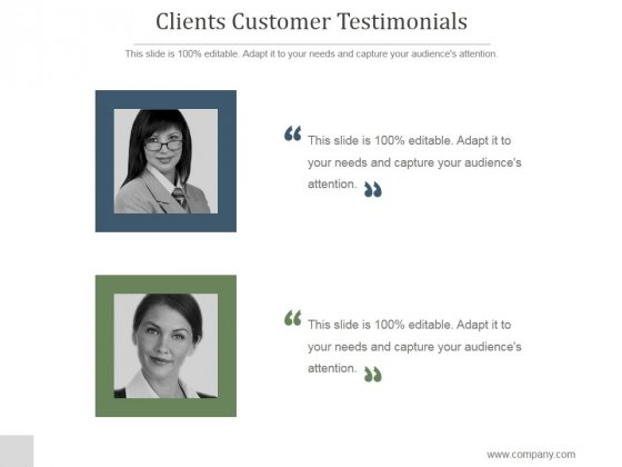 Clients Customer Testimonials Ppt PowerPoint Presentation Templates