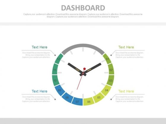 Clock Dashboard Design For Time Management Powerpoint Slides