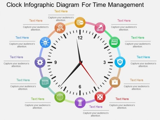 Clock Infographic Diagram For Time Management Powerpoint Template