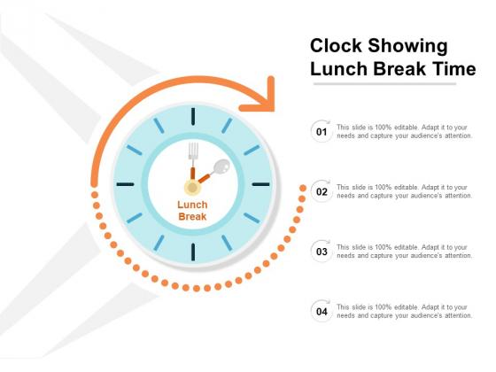 Clock Showing Lunch Break Time Ppt PowerPoint Presentation Styles Ideas