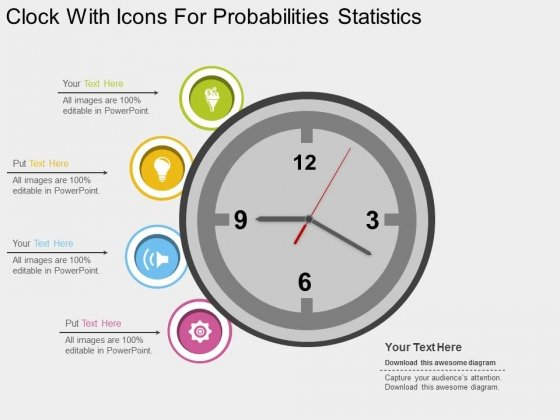 Clock With Icons For Probabilities Statistics Powerpoint Template