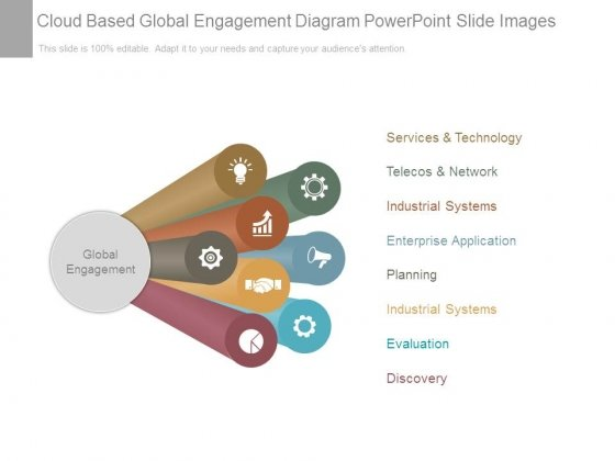 Cloud Based Global Engagement Diagram Powerpoint Slide Images