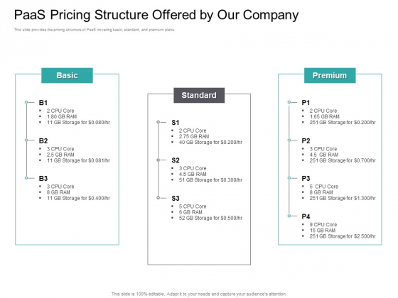 Cloud Based Marketing Paas Pricing Structure Offered By Our Company Ppt PowerPoint Presentation Icon Brochure PDF